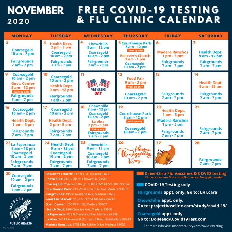 COVID-19 & Flu Clinic Calendar