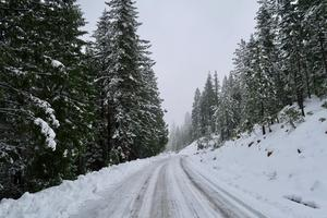 An image of a snowy road