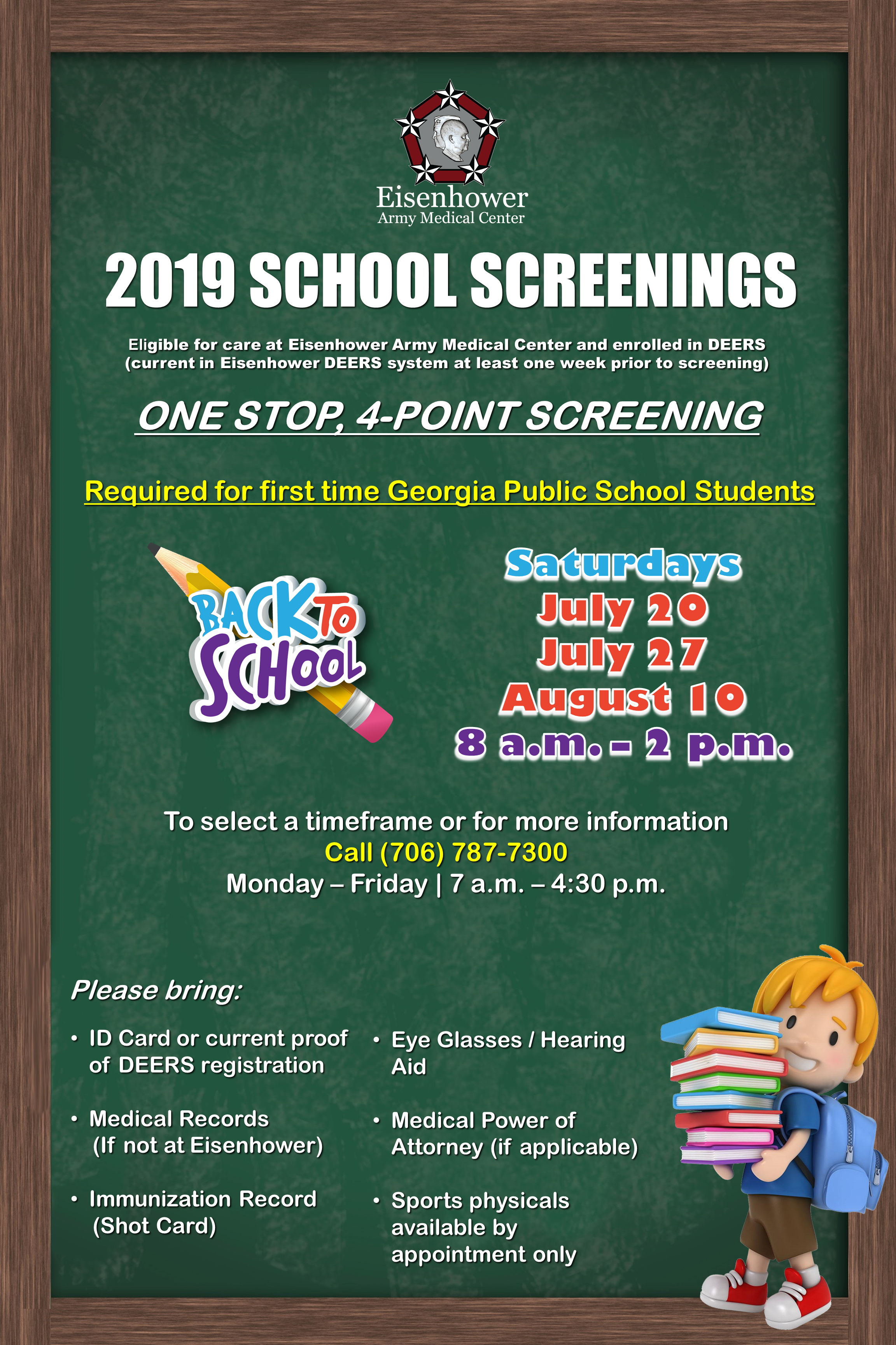School screenings for the 2019 school year for military families