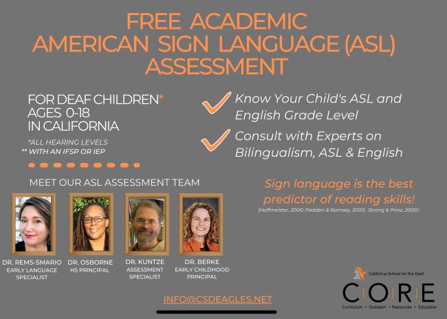 Free Academic ASL Assessment