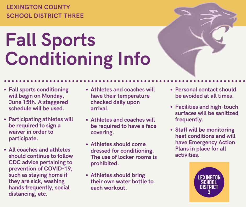 June 15th - Conditioning begins for fall sports athletes