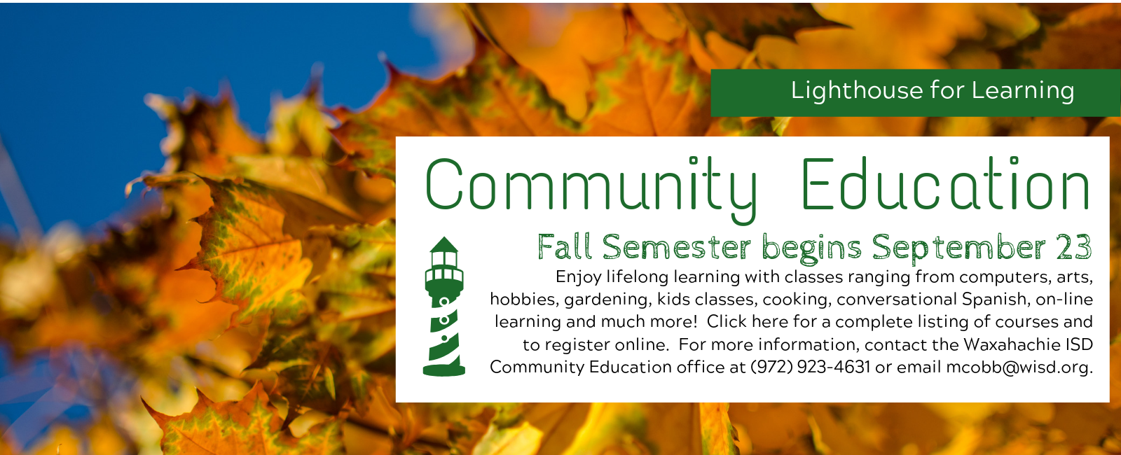 Lighthouse for Learning Fall/Holiday Semester