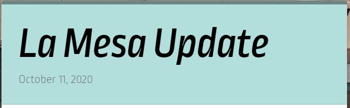 La Mesa Update October 11th Featured Photo