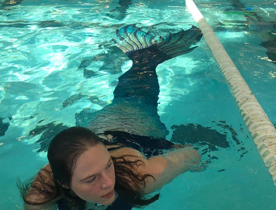 I love swimming in my mermaid tails!