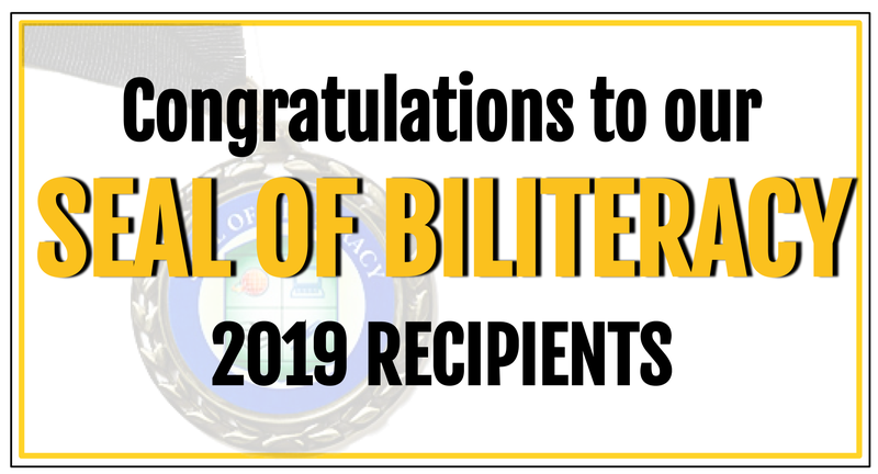 Congratulations to the 2019 Seal of Biliteracy Recipients! Featured Photo