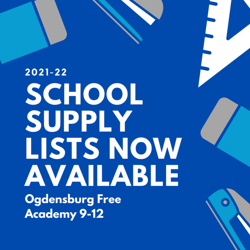 Blue background with blue and white school supply graphics. White text reads