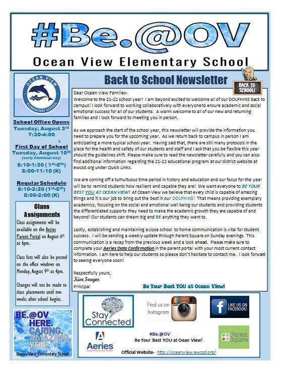 Newsletter with Back to School Information