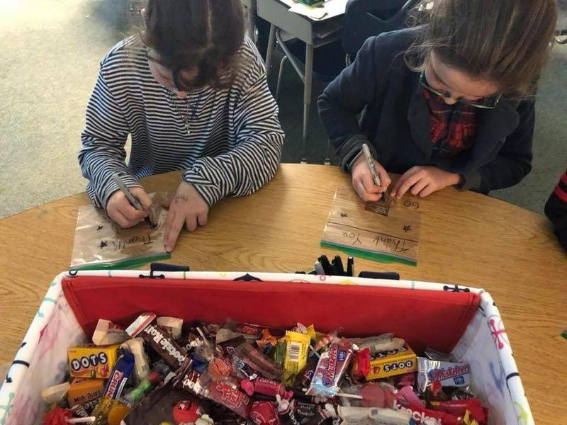 News Feature: Jefferson Elementary class sends Halloween candy to troops Thumbnail Image