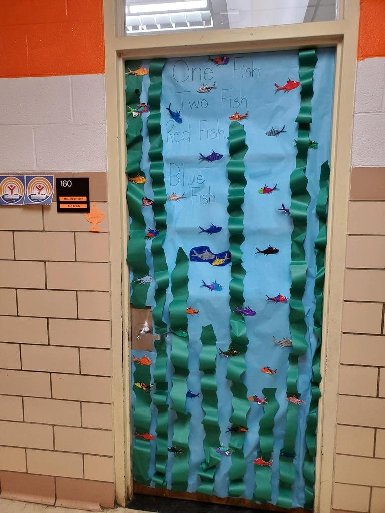 "door decorated for contest as ""One fish, Two fish, Red Fish, Blue fish"""