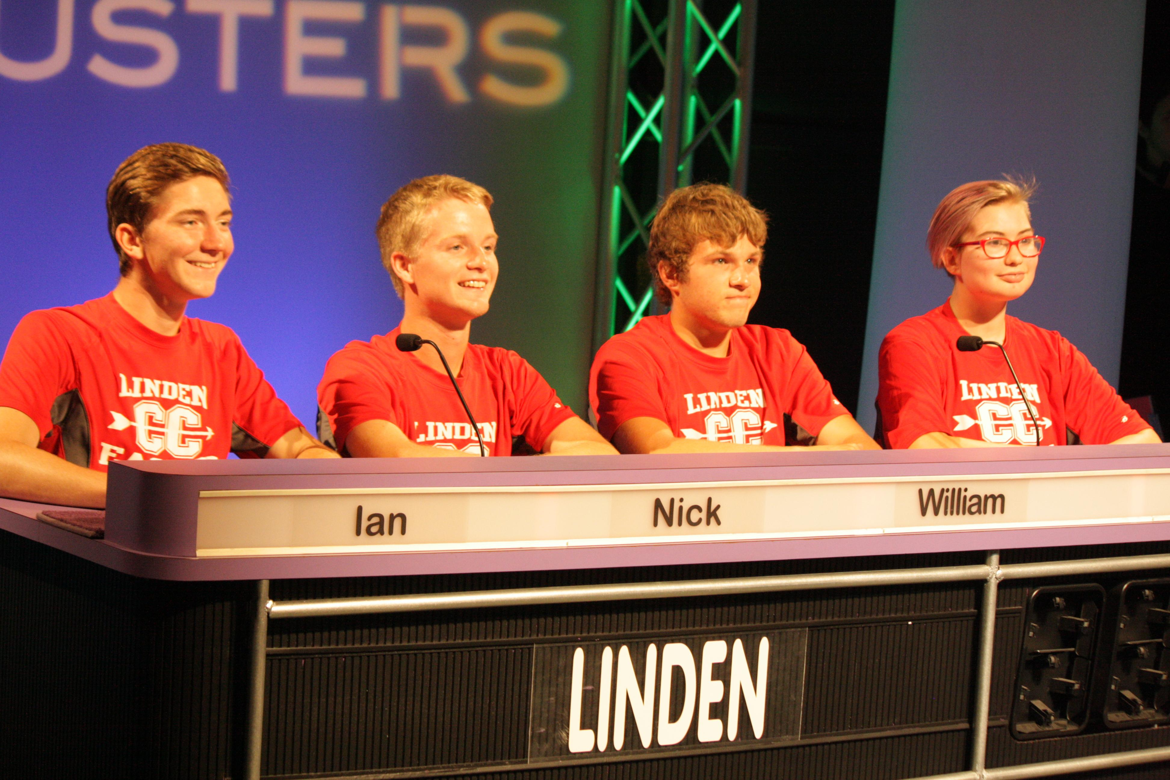Quiz Bowl students on a television set