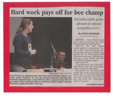 Anna Penird Spelling Bee Champ News Article