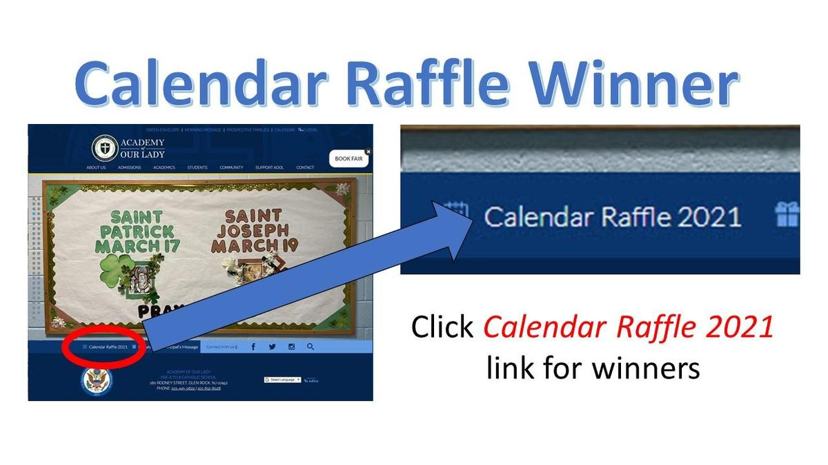 Front Page Showing Link to Calendar Raffle