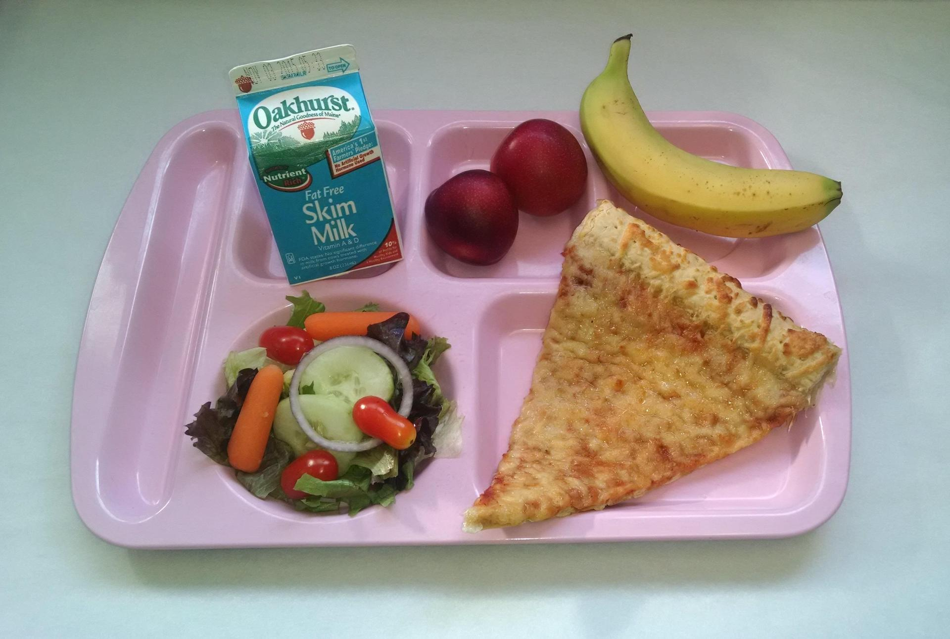 Stuffed Crust Cheese Pizza, Salad, Plums, Banana and Milk