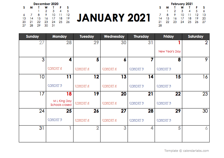 January cohort calendar