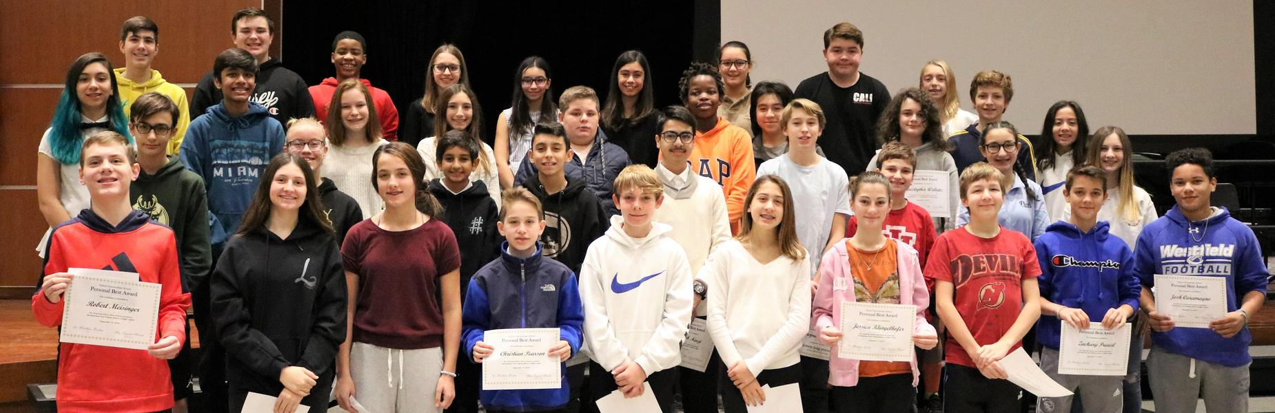 Photo of Edison 8th graders who received Personal Best Awards for good character and kindness