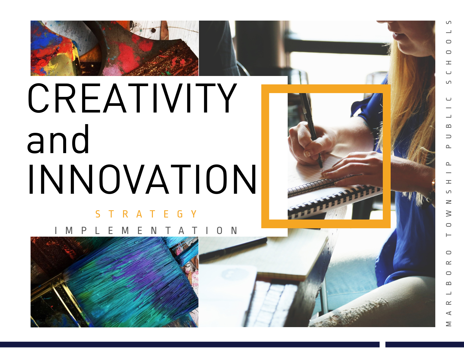 Creativity & Innovation title page. Paint and technology.