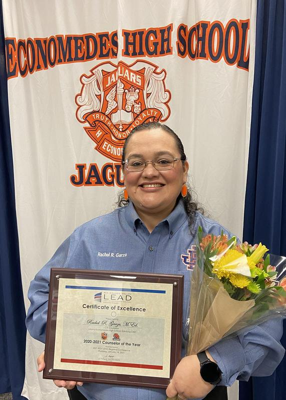 Economedes High School CTE Counselor Rachel Garza named RGV LEAD Counselor of the Year.
