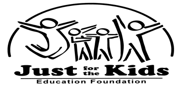 Just for the Kids Education Foundation logo is a white image with black lettering that says Just for the Kids Education Foundation.