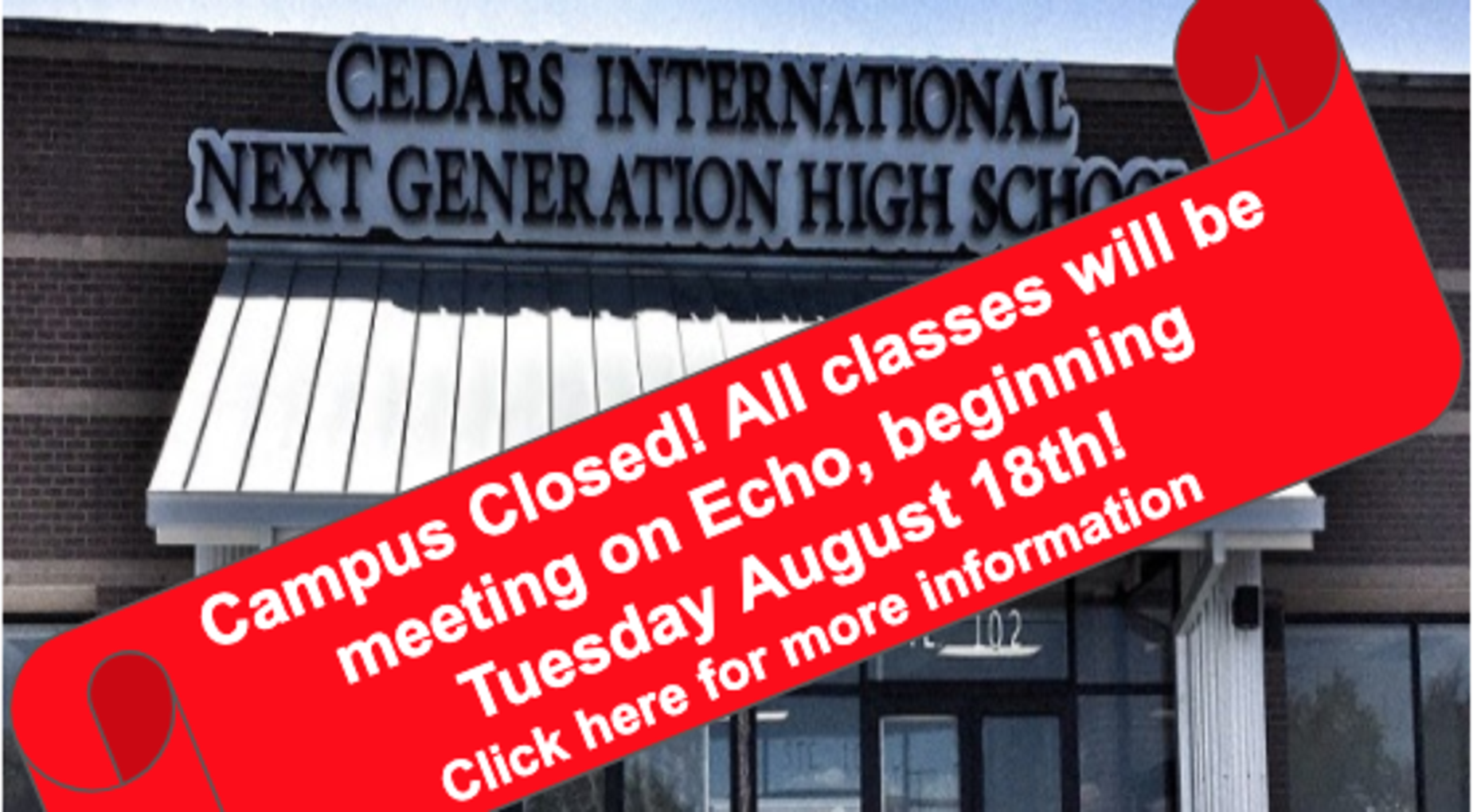Campus Closed! Online Classes start Tuesday August 18th