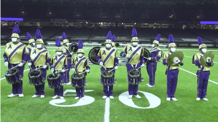 Marching 100 drumline on the Superdome field.