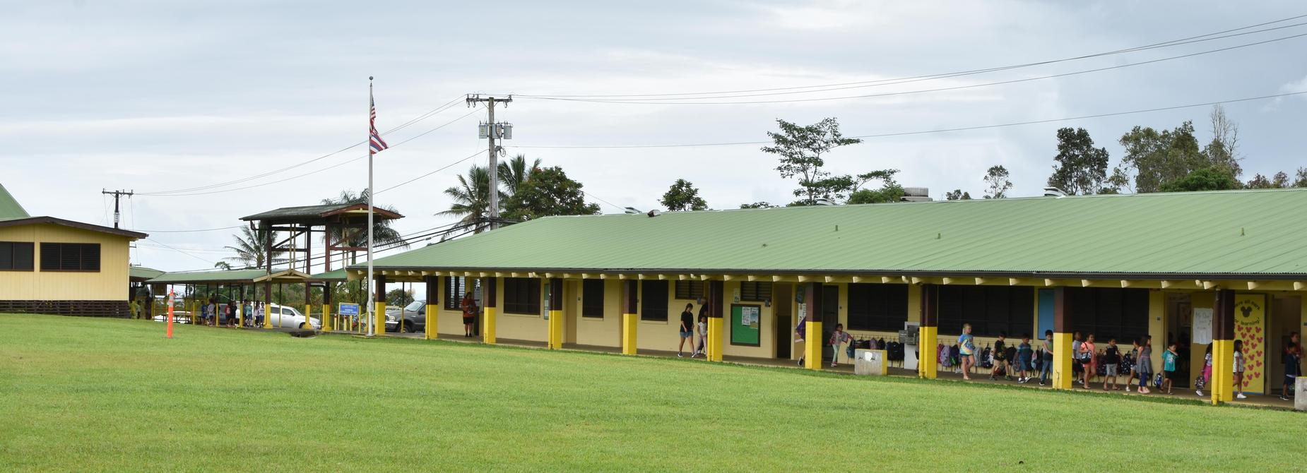 Photo of Kaumana Elem School looking from the Play ground to the Office