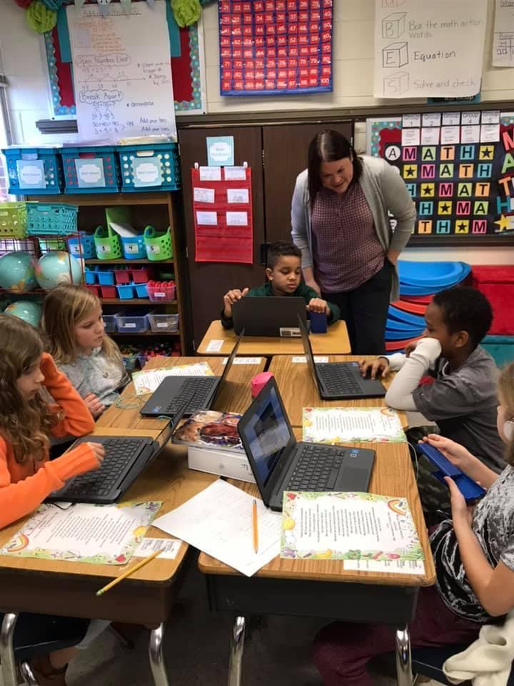 Principal Holbrook visiting classrooms