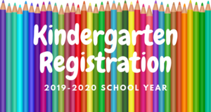 a line of colored pencils with the words kindergarten registration