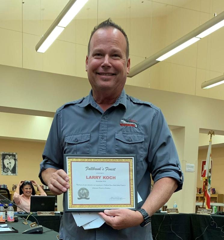 Mr. Koch is one of Fallbrook's Finest for November