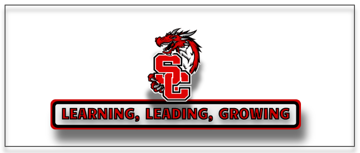 District logo of dragon wrapped around a monogram SC withthe District tag line underneath: Leading, Learning, Growing