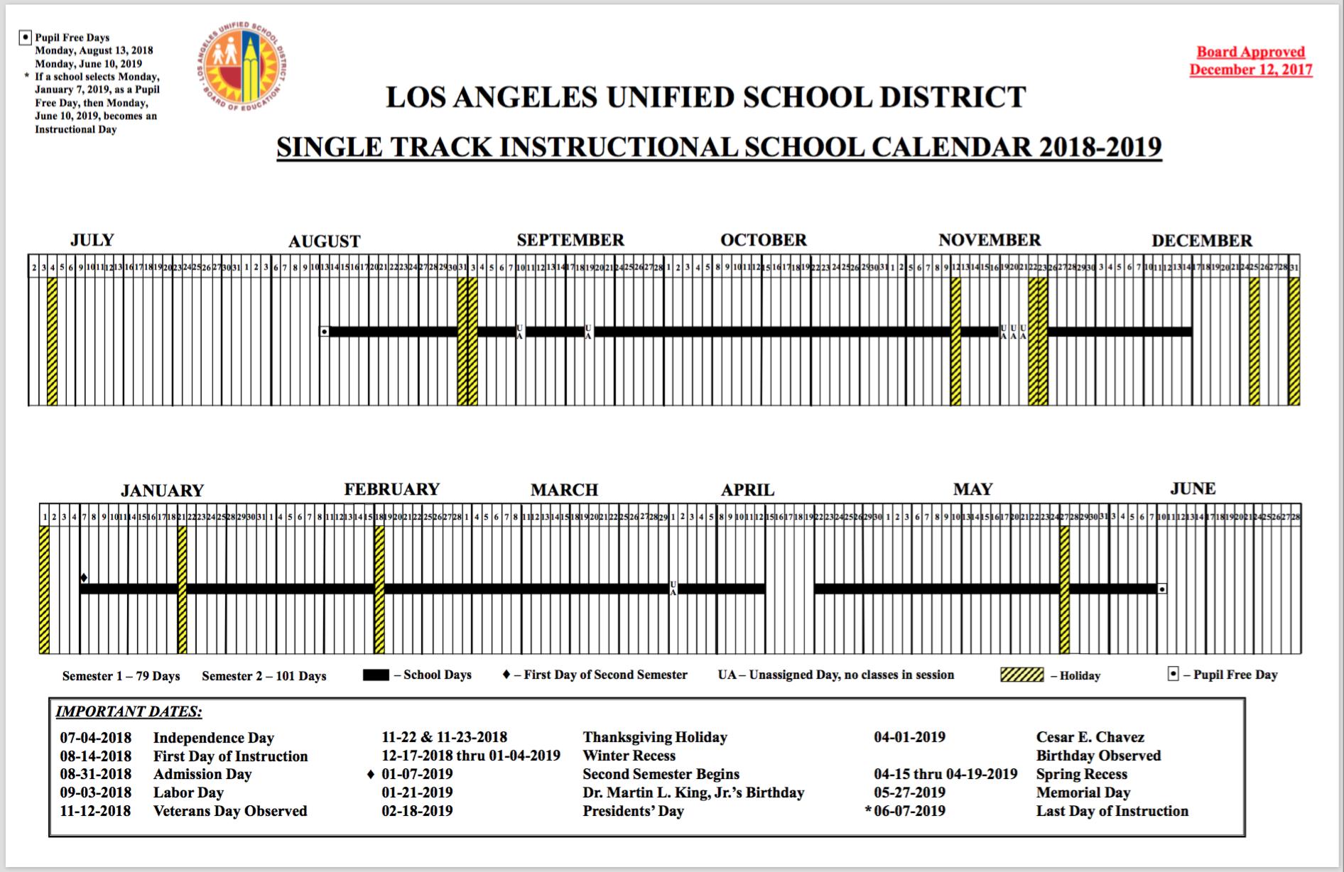 lausd school calendar