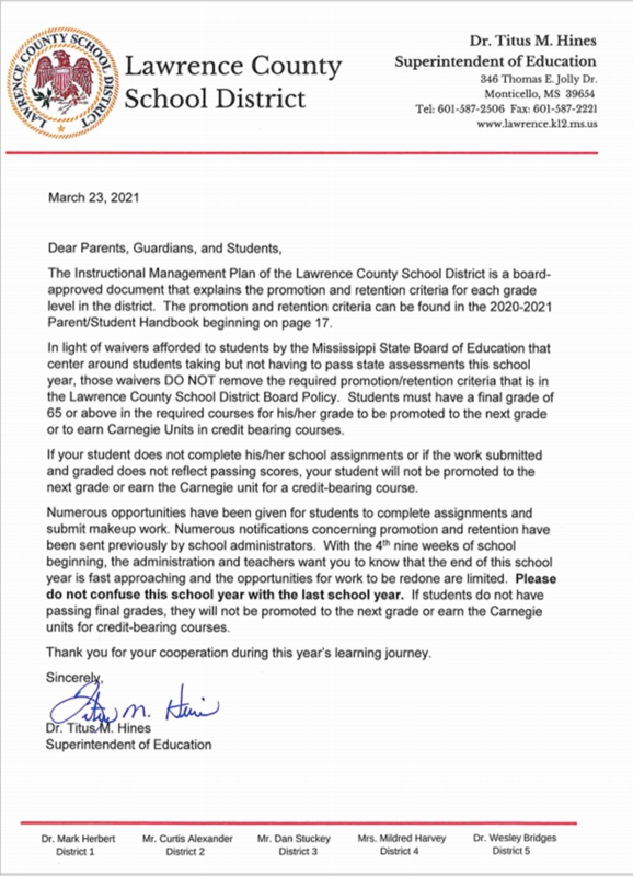 Promotion and Retention Letter