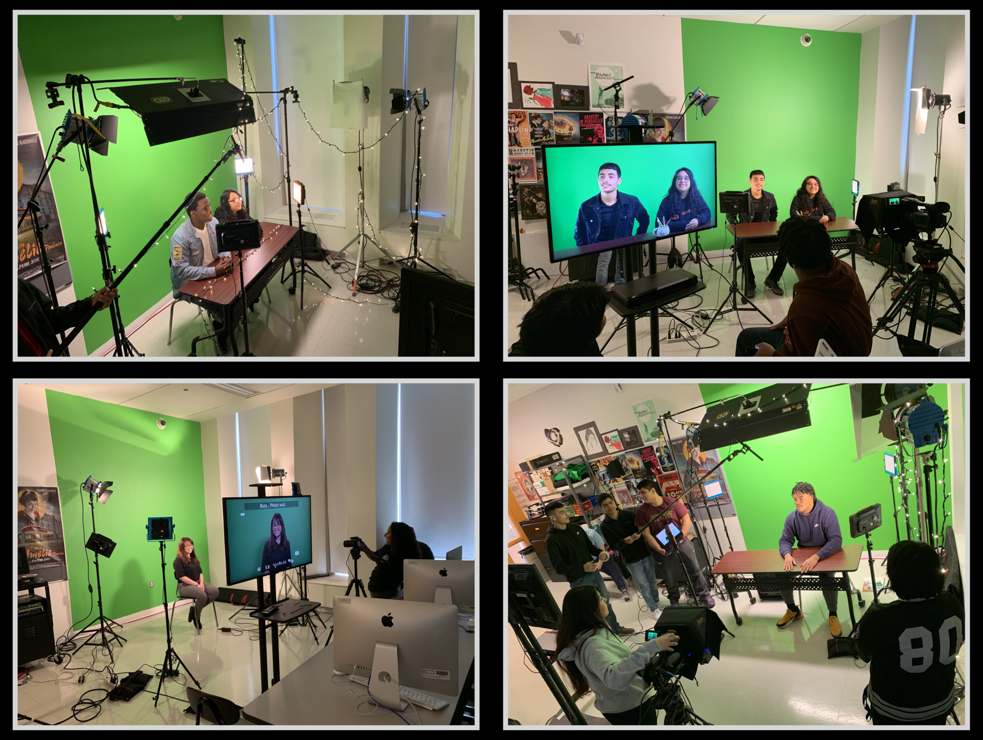 CP Broadcast students using the green screen