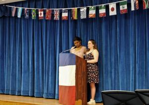 Photo of WHS Cultural Diversity Chair Lesley Cora and emcee Rosy Garabete at celebration of cultural diversity on May 2.