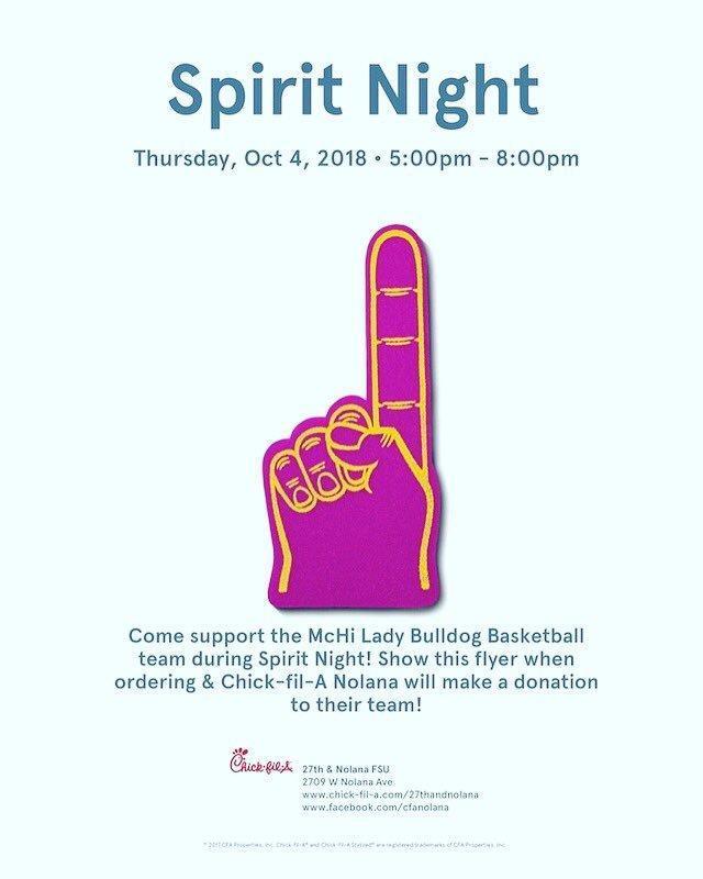 Spirit Night!  Support Girls Basketball at Chick-Fil-A Tonight 5-8 PM