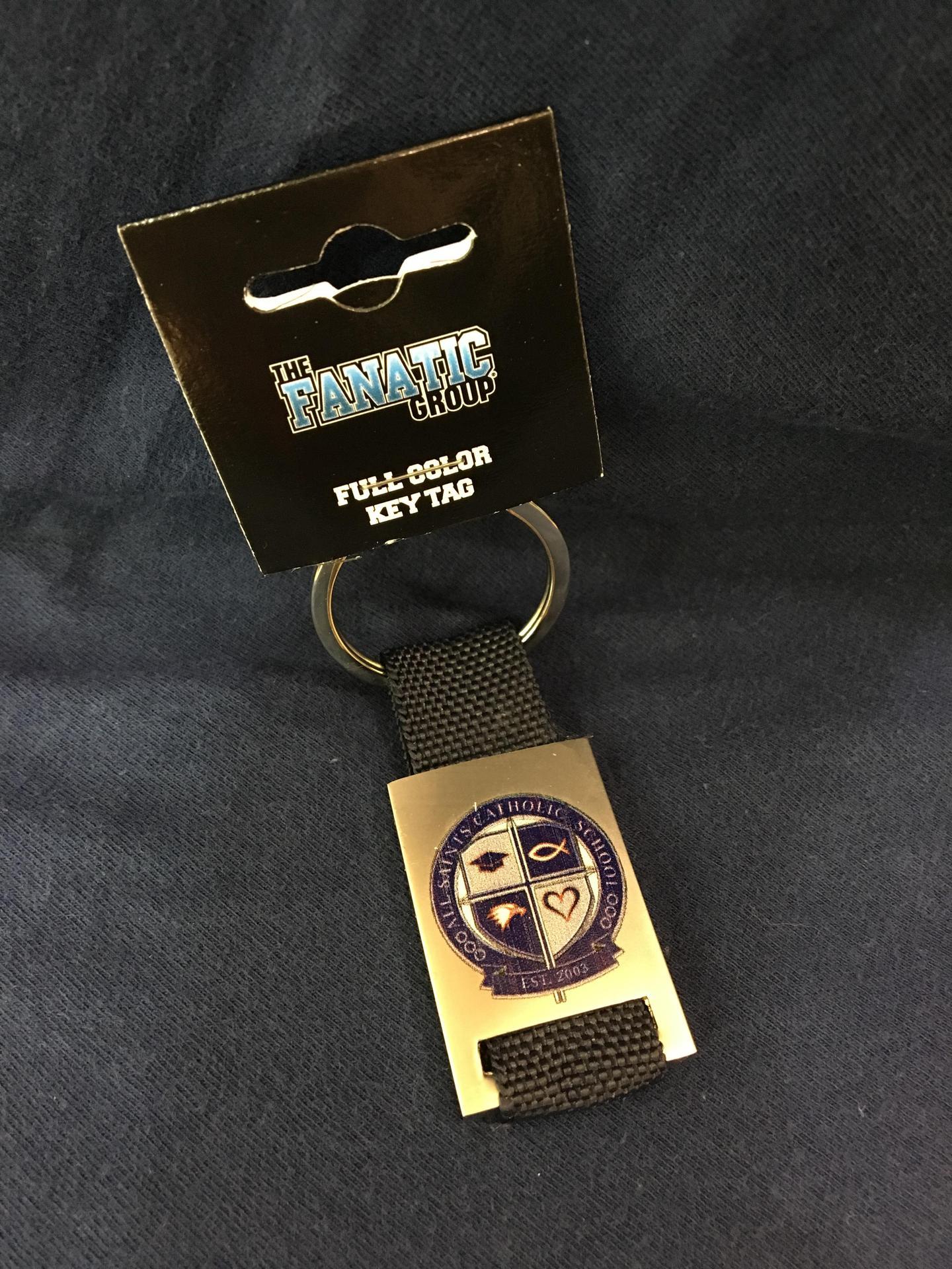 Navy Keychain with School Crest