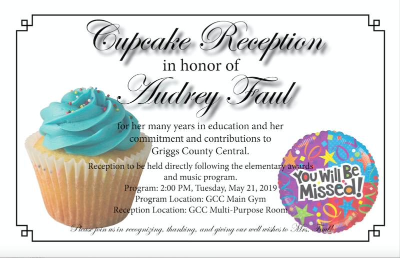 Reception for Mrs. Audrey Faul