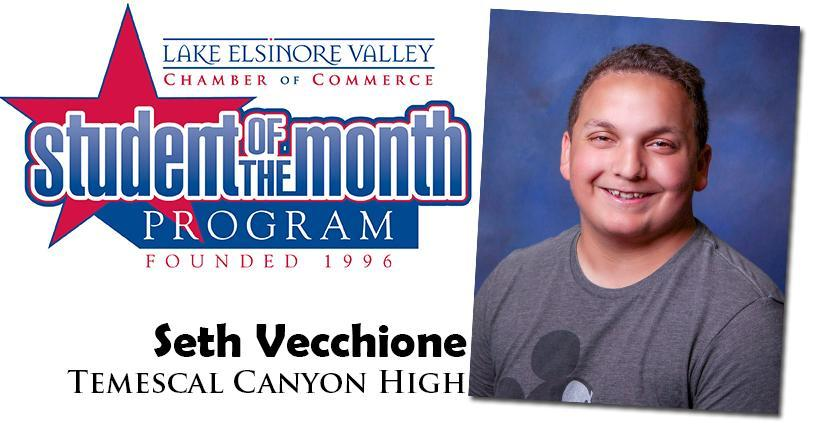 Seth Vecchione, Temescal Canyon HS, Student of the Month, October, 2020.
