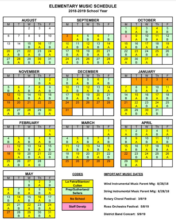 Elementary Music Calendar 18-19
