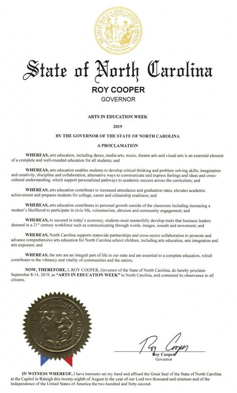 North Carolina Governor Roy Cooper's Proclamation of Arts in Education Week in North Carolina 2019