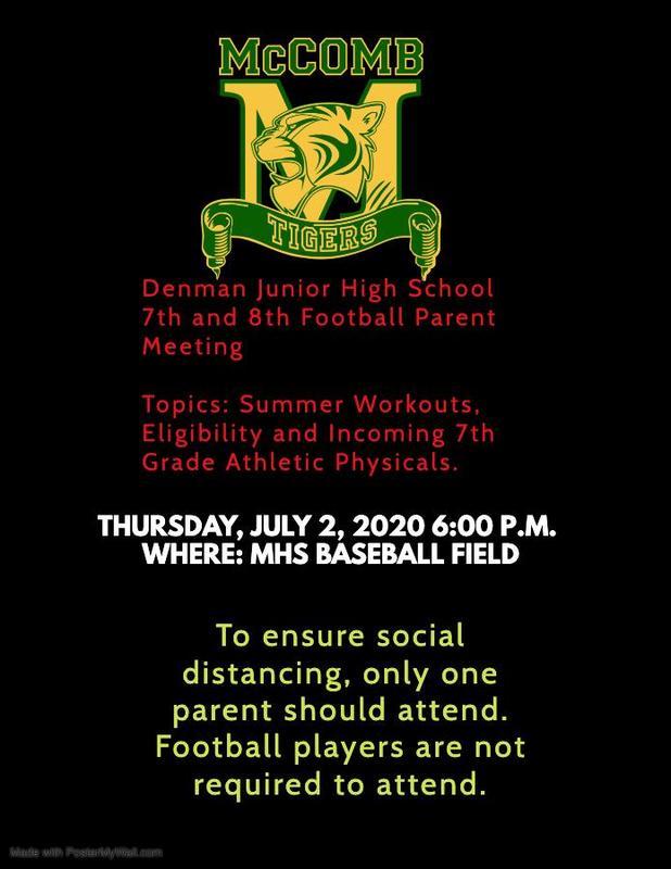 Denman Junior High School 7th and 8th Grade Football News Summer 2020  #ItsComeBackTime