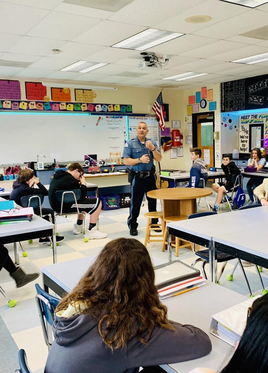 Officer Joe talks to the class.