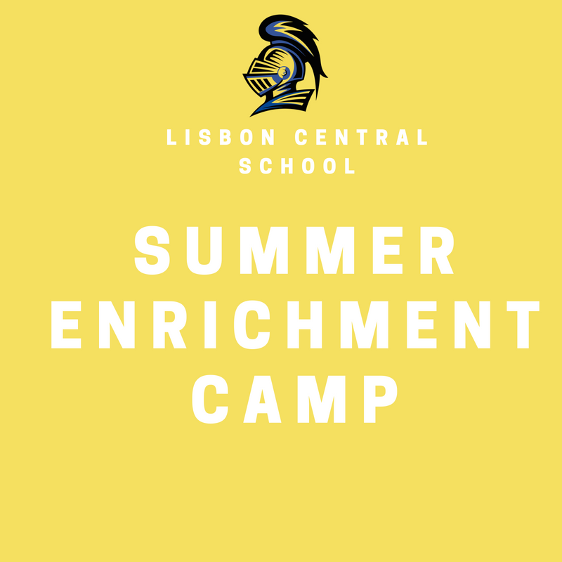 Yellow square with white font reading summer enrichment camp
