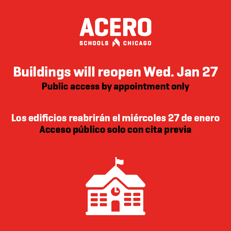 School House pictured alongside text saying buildings will reopen Wednesday, January 27 tot he public. Appointments required.