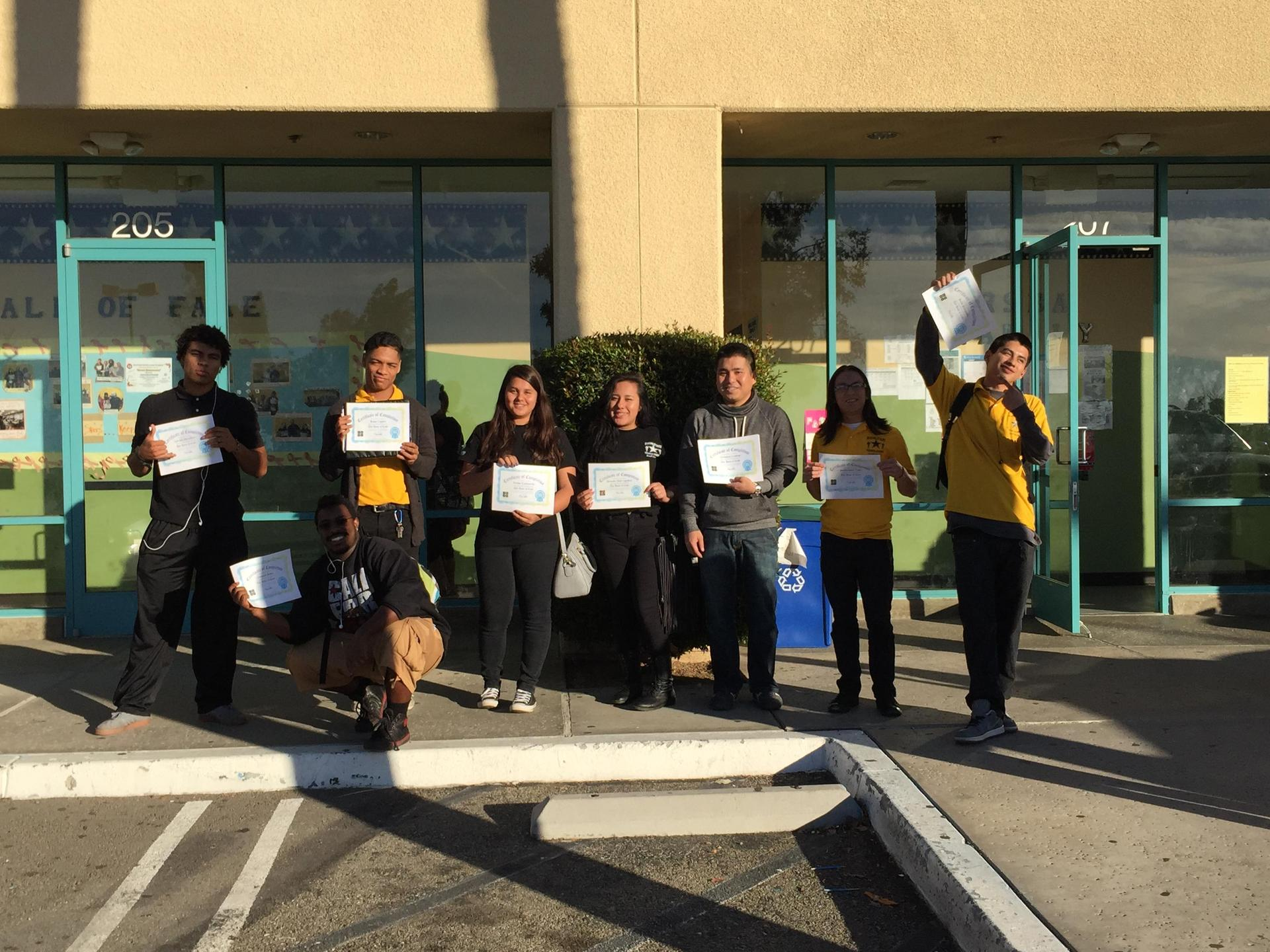 Moreno Valley students pose with awards