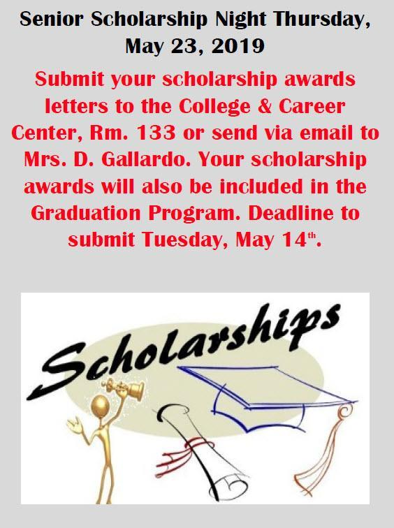 Senior scholarship night flyer