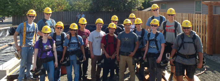 Viking House Crew pose for picture on the job site