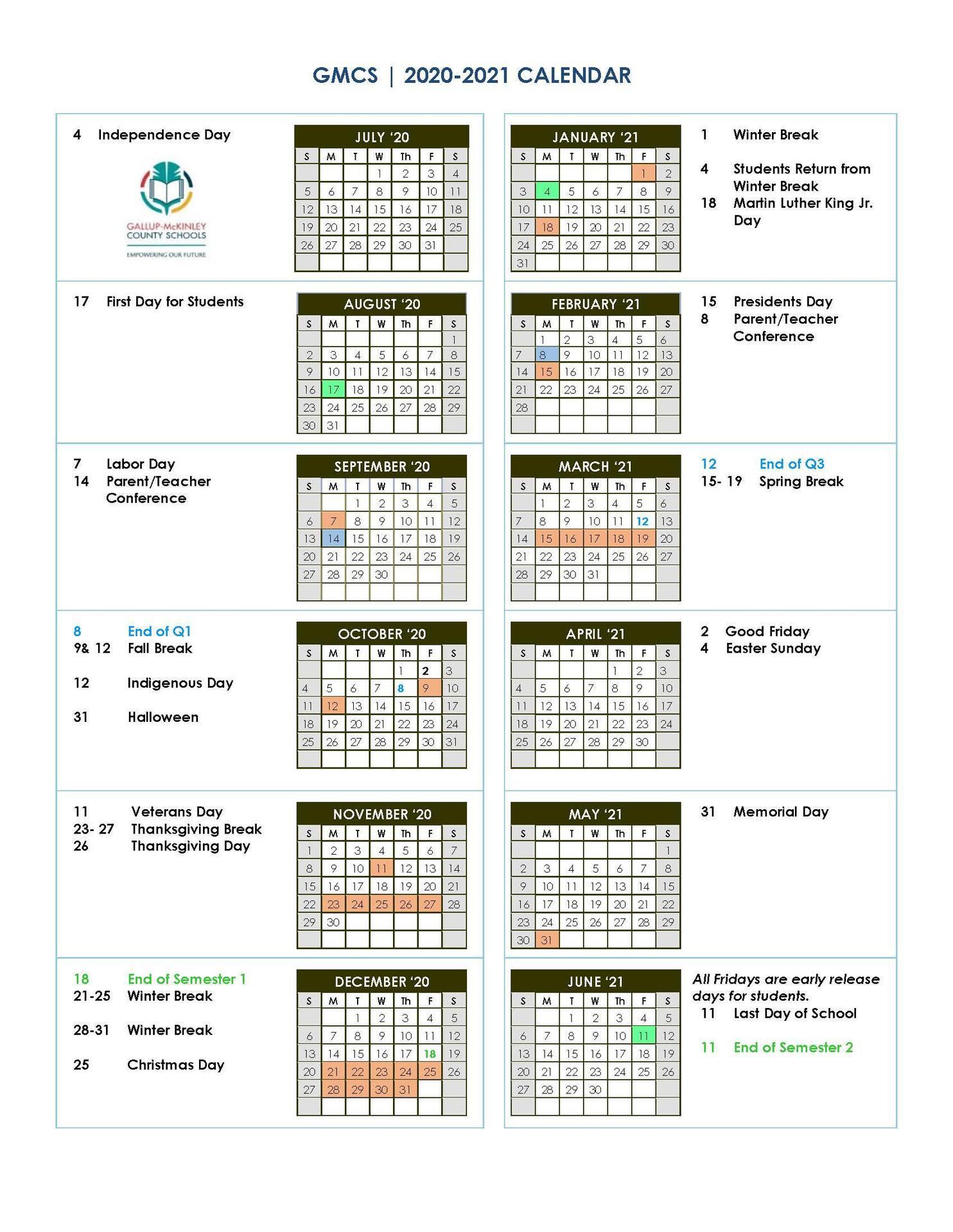 2020/2021 School Calendar