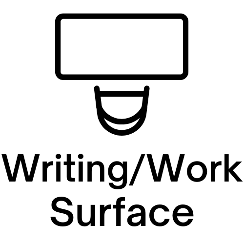 "Image of a table and chair with ""Writing/Work Surface"" written under it."
