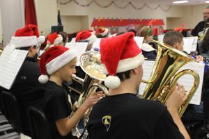 band students in Santa hats