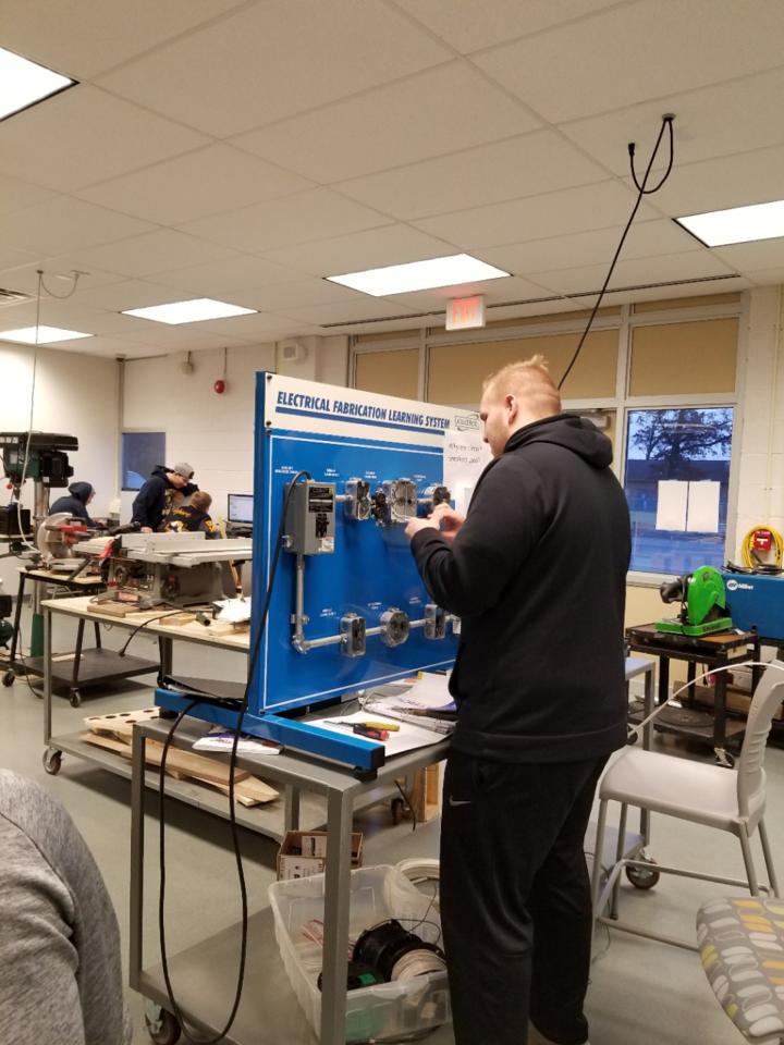 Student working in Mechatronics